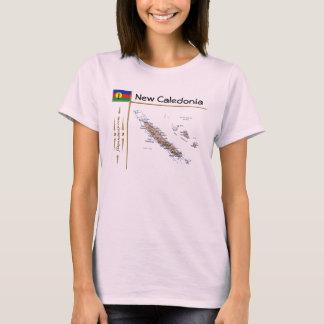 Camiseta Mapa de Nova Caledônia + Bandeira + T-shirt do