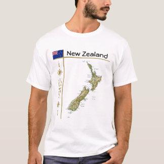 Camiseta Mapa de Nova Zelândia + Bandeira + T-shirt do