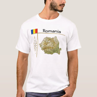 Camiseta Mapa de Romania + Bandeira + T-shirt do título