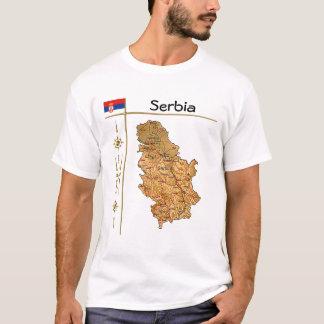 Camiseta Mapa de Serbia + Bandeira + T-shirt do título