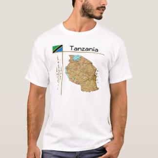 Camiseta Mapa de Tanzânia + Bandeira + T-shirt do título