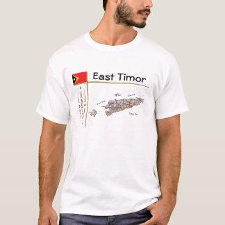 Camiseta Mapa de Timor-Leste + Bandeira + T-shirt do título