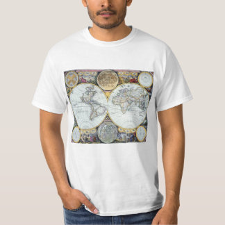 Camiseta Mapa do mundo antigo, atlas Maritimus pelo