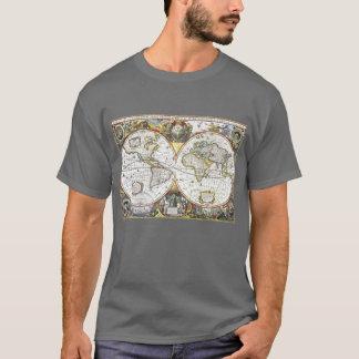 Camiseta Mapa do mundo antigo por Hendrik Hondius, 1630