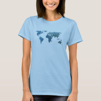 Camiseta Mapa do mundo azul legal