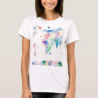 Camiseta mapa do mundo da cor de água