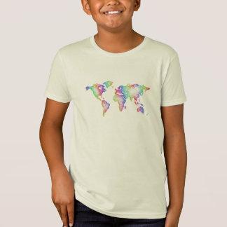 Camiseta Mapa do mundo do arco-íris