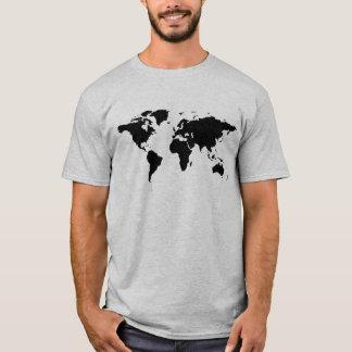 Camiseta mapa do mundo simples preto