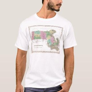 Camiseta Mapa do vintage de Massachusetts (1827)
