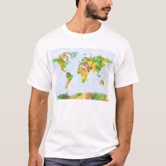 Camiseta Mapa do Watercolour do mundo