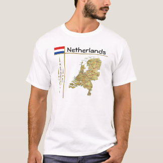 Camiseta Mapa holandês + Bandeira + T-shirt do título