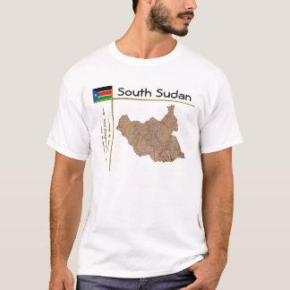 Camiseta Mapa sul de Sudão + Bandeira + T-shirt do título