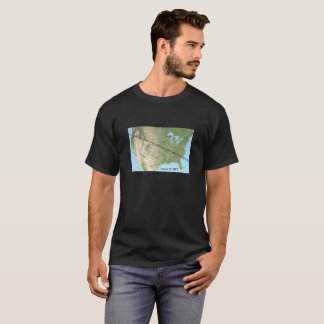 Camiseta Mapa total 2017 do trajeto do eclipse solar