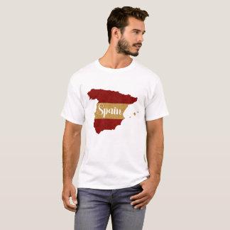 Camiseta Mapa vermelho da espanha da bandeira amarela do