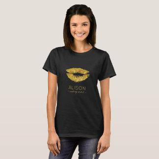 Camiseta Maquilhador grande dos lábios do brilho preto Glam