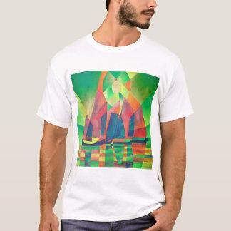 Camiseta Mar do verde com sucatas do abstrato do Cubist