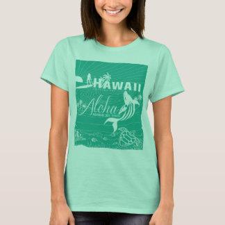 Camiseta Mar verde de Havaí do surf