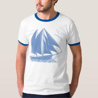 Camiseta Marinheiro náutico do veleiro azul