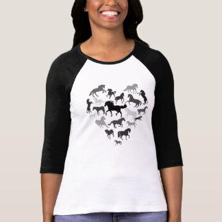 Camiseta Marrom do preto do cavalo e do tshirt do coração