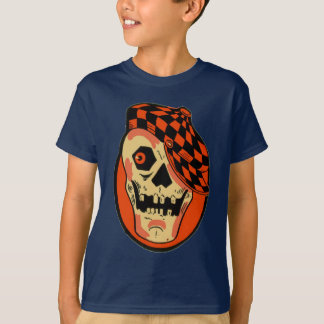 Camiseta Máscara do esqueleto do Dia das Bruxas do vintage