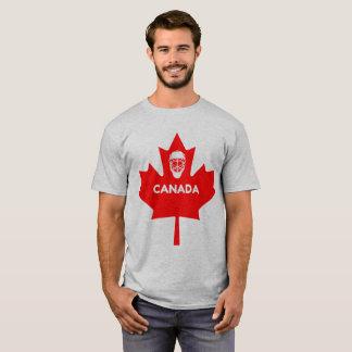 Camiseta Máscara do hóquei na folha de bordo de Canadá