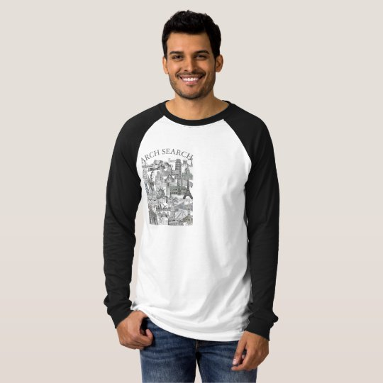 Camiseta masculina Raglan Long Arch Search Mural