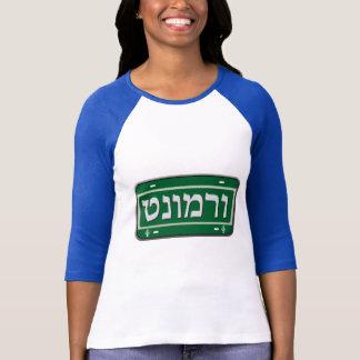 Camiseta Matrícula de Vermont no hebraico