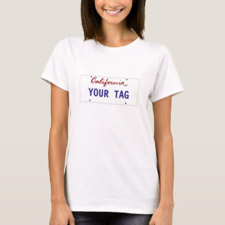 Camiseta Matrícula feita sob encomenda de Califórnia