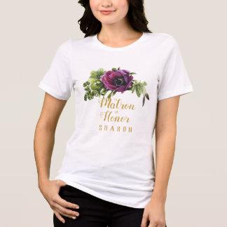Camiseta Matrona roxa dos ganhos da peônia do nome ID456 da