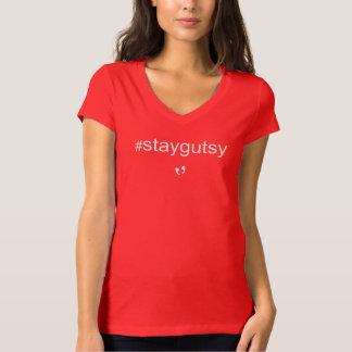 Camiseta Mayniax que marca mulheres #staygutsy vermelhas