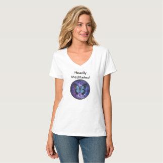 Camiseta Meditated pesadamente com a flor da vida e do azul