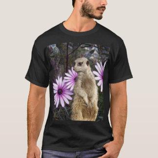 Camiseta Meerkat e margaridas roxas,