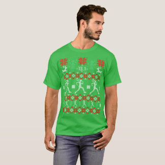 Camiseta Meio Tshirt feio do Natal do ano novo da maratona