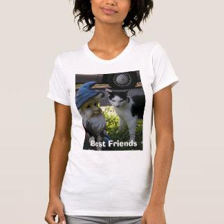 Camiseta Melhores amigos do gnomo do gato e do gramado de