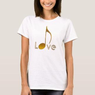 Camiseta Melómanos eu amo o preto do ouro da nota da música