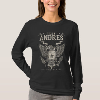 Camiseta Membro da vida de ANDRES da equipe. Aniversário do