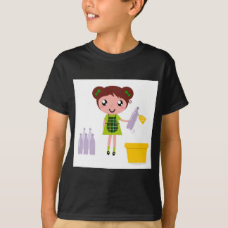 Camiseta Menina artística pequena com garrafa