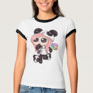 Camiseta Menina bonito da panda do Anime do arco-íris