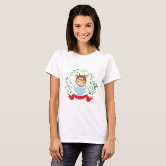 Camiseta Menina bonito dos cervos no bule