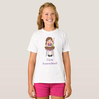 Camiseta Menina bonito em sua mesa eu amo o homeschool!