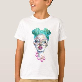 Camiseta Menina com a cerceta original do rosa da arte do
