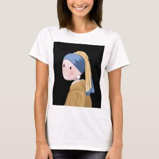 Camiseta Menina com um brinco da pérola