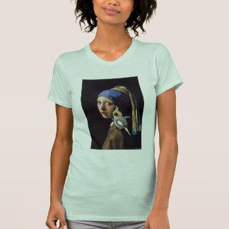 Camiseta Menina com um Cockatiel da pérola