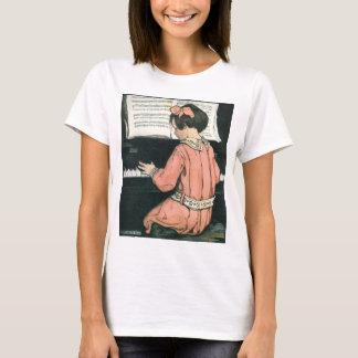 Camiseta Menina da música do piano do vintage por Jessie