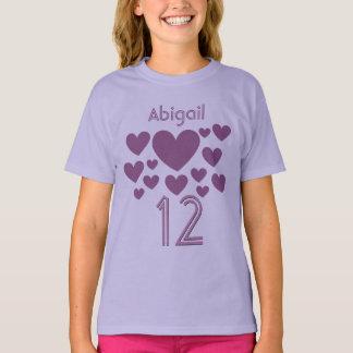 Camiseta Menina de 12 aniversários ou alguns corações ROXOS