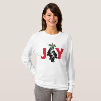 Camiseta Menina de Derby do rolo, Natal patinando com