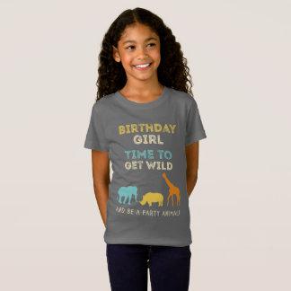 Camiseta Menina de festa de aniversário do safari do jardim
