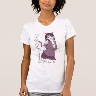 Camiseta Menina do gato de Otaku