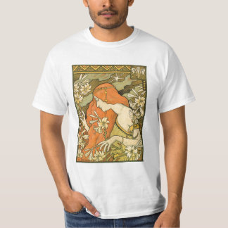 Camiseta Menina do Pinup de Nouveau do francês no campo das