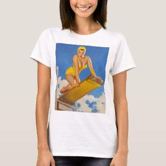 Camiseta Menina do Pinup do nadador do conselho de mergulho